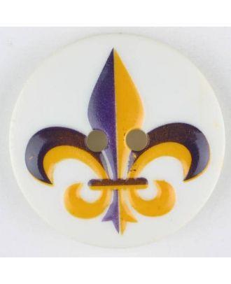 polyamide button, fleur de lis, 2 holes - Size: 23mm - Color: lilac - Art.No. 331005