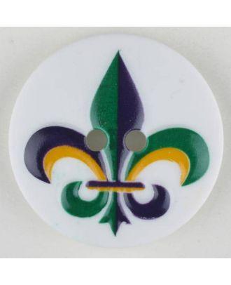 polyamide button, fleur de lis, 2 holes - Size: 23mm - Color: green - Art.No. 331018