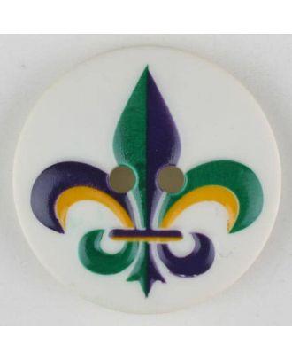 polyamide button, fleur de lis, 2 holes - Size: 30mm - Color: green - Art.No. 370688