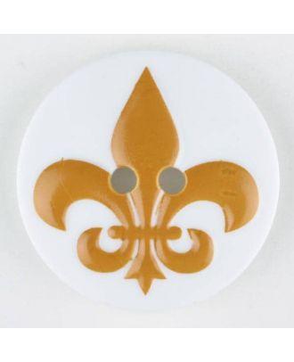 polyamide button, fleur de lis, 2 holes - Size: 23mm - Color: yellow - Art.No. 331015