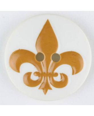 polyamide button, fleur de lis, 2 holes - Size: 23mm - Color: yellow - Art.No. 331003