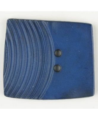 polyamide button, square, 2 holes - Size: 38mm - Color: blue - Art.No. 375705