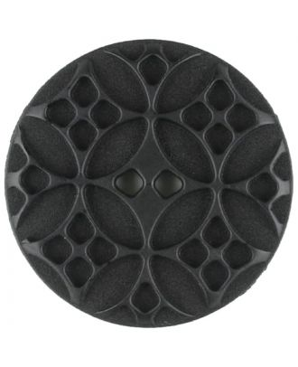 Polyamide button, round, 2 holes - Size: 34mm - Color: black - Art.No. 370748
