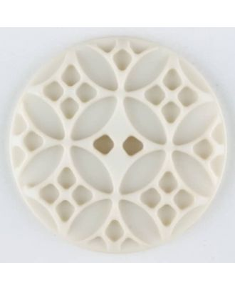 Polyamide button, round, 2 holes - Size: 34mm - Color: beige - Art.No. 376710