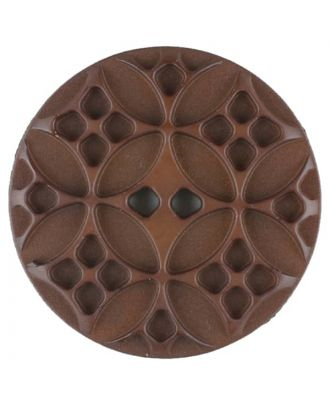 Polyamide button, round, 2 holes - Size: 20mm - Color: brown - Art.No. 266703