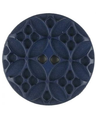 Polyamide button, round, 2 holes - Size: 28mm - Color: blue - Art.No. 336715