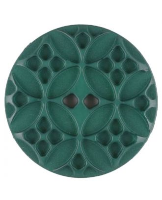 Polyamide button, round, 2 holes - Size: 28mm - Color: green - Art.No. 336717