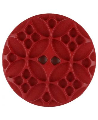 Polyamide button, round, 2 holes - Size: 28mm - Color: red - Art.No. 336719