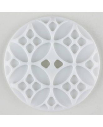 Polyamide button, round, 2 holes - Size: 20mm - Color: white - Art.No. 261249