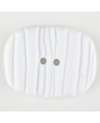 Polyamide button, oval, 2 holes - Size: 34mm - Color: white - Art.No. 370751
