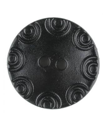 Polyamide button, round, 2 holes - Size: 13mm - Color: black - Art.No. 211707