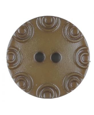 Polyamide button, round, 2 holes - Size: 13mm - Color: brown - Art.No. 216704