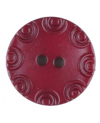 Polyamide button, round, 2 holes - Size: 13mm - Color: wine red - Art.No. 216715