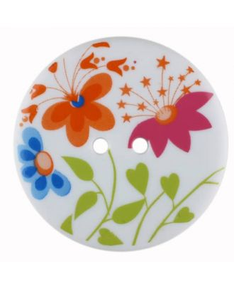 flower button, round with 2 holes - Size: 38mm - Color: white - Art.No. 380352