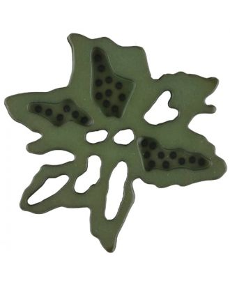 flower button with 2 holes - Size: 34mm - Color: dark green - Art.No. 377719