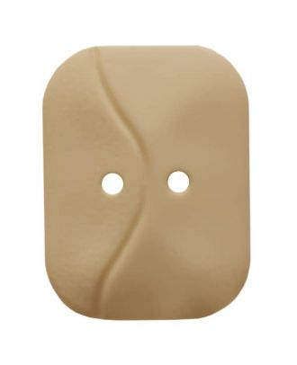 oblong polyamide button with 2 holes and wave - Size: 32mm - Color: beige - Art.No. 374800