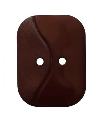 oblong polyamide button with 2 holes and wave - Size: 32mm - Color: brown - Art.No. 374802