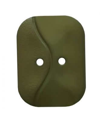 oblong polyamide button with 2 holes and wave - Size: 32mm - Color: green - Art.No. 374807