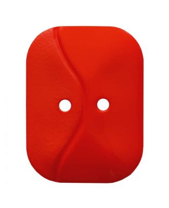 oblong polyamide button with 2 holes and wave - Size: 32mm - Color: red - Art.No. 374809