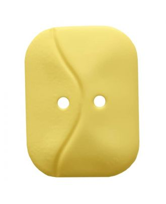 oblong polyamide button with 2 holes and wave - Size: 32mm - Color: yellow - Art.No. 374810