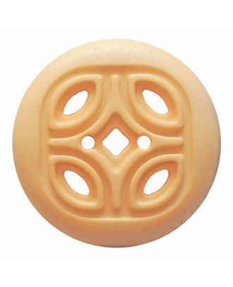 round polyamide button with 2 holes and open ornament - Size: 30mm - Color: beige - Art.No. 384814
