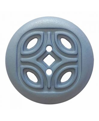 round polyamide button with 2 holes and open ornament - Size: 20mm - Color: blue - Art.No. 314818