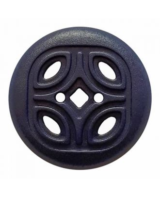 round polyamide button with 2 holes and open ornament - Size: 20mm - Color: blue - Art.No. 314819