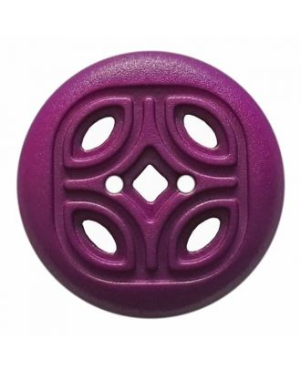 round polyamide button with 2 holes and open ornament - Size: 30mm - Color: purple - Art.No. 384818