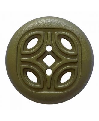 round polyamide button with 2 holes and open ornament - Size: 30mm - Color: green - Art.No. 384820