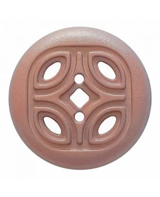round polyamide button with 2 holes and open ornament - Size: 30mm - Color: pink - Art.No. 384821