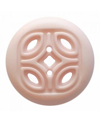 round polyamide button with 2 holes and open ornament - Size: 30mm - Color: pink - Art.No. 384822