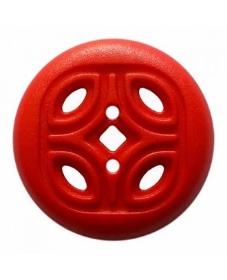 round polyamide button with 2 holes and open ornament - Size: 30mm - Color: red - Art.No. 384823