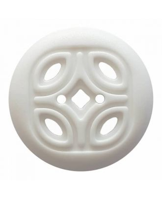 round polyamide button with 2 holes and open ornament - Size: 30mm - Color: white - Art.No. 380376