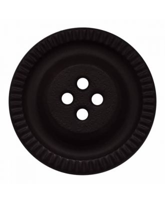 round polyamide button with 4 holes and gear on the edge - Size: 28mm - Color: black - Art.No. 341321