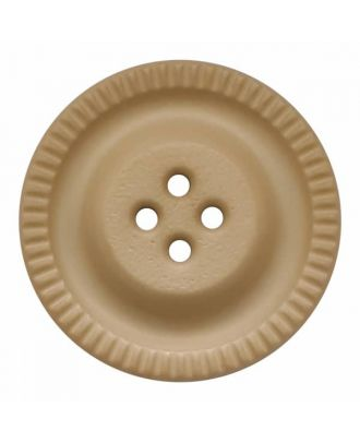 round polyamide button with 4 holes and gear on the edge - Size: 23mm - Color: beige - Art.No. 334823