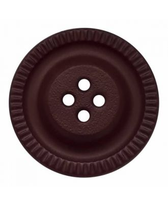round polyamide button with 4 holes and gear on the edge - Size: 23mm - Color: brown - Art.No. 334825