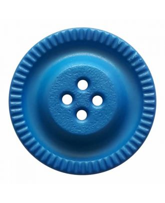 round polyamide button with 4 holes and gear on the edge - Size: 18mm - Color: blue - Art.No. 284804
