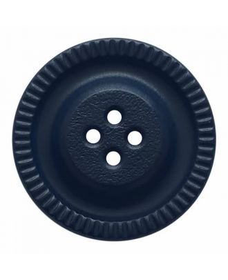round polyamide button with 4 holes and gear on the edge - Size: 23mm - Color: blue - Art.No. 334828