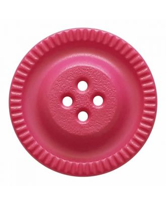 round polyamide button with 4 holes and gear on the edge - Size: 23mm - Color: pink - Art.No. 334831