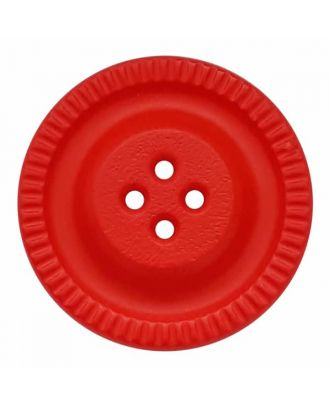 round polyamide button with 4 holes and gear on the edge - Size: 23mm - Color: red - Art.No. 334833