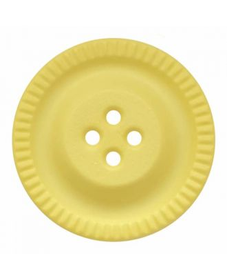 round polyamide button with 4 holes and gear on the edge - Size: 28mm - Color: yellow - Art.No. 344861