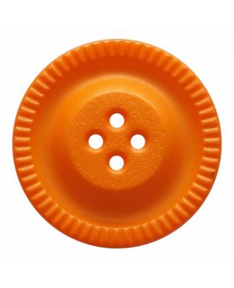 round polyamide button with 4 holes and gear on the edge - Size: 28mm - Color: orange - Art.No. 344862