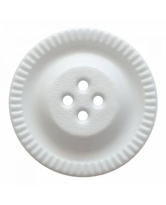 round polyamide button with 4 holes and gear on the edge - Size: 23mm - Color: white - Art.No. 331187