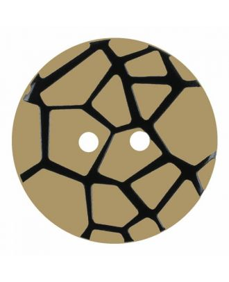 round polyamide button with a raised black spider web and 2 holes - Size: 23mm - Color: beige - Art.No. 344863