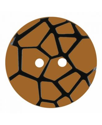 round polyamide button with a raised black spider web and 2 holes - Size: 23mm - Color: beige - Art.No. 344864