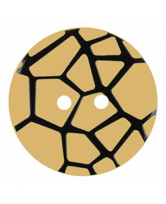 round polyamide button with a raised black spider web and 2 holes - Size: 23mm - Color: beige - Art.No. 344865