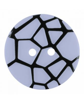 round polyamide button with a raised black spider web and 2 holes - Size: 18mm - Color: blue - Art.No. 314829
