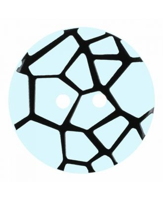 round polyamide button with a raised black spider web and 2 holes - Size: 18mm - Color: blue - Art.No. 314830