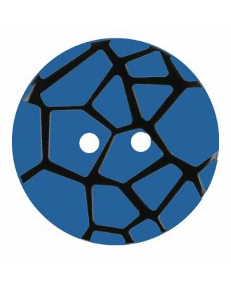 round polyamide button with a raised black spider web and 2 holes - Size: 18mm - Color: blue - Art.No. 314831