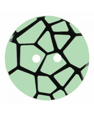 round polyamide button with a raised black spider web and 2 holes - Size: 23mm - Color: green - Art.No. 344869